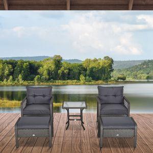 Outsunny Rattan Gartenmöbel für 8 Personen 5-tlg. Outdoor-Sitzgarnitur Sofa mit Hocker Tisch Sitzgruppe Stahl Grau 65 x 55 x 75 cm