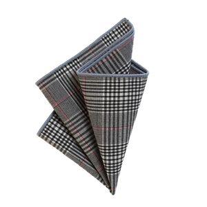 DonDon Herren Einstecktuch Taschentuch 23 x 23 cm Baumwolle Tweed Look grau-schwarz kariert