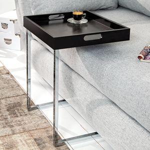 Design Beistelltisch CIANO 40cm schwarz chrom Tablett-Tisch Kaffeetisch Sofatisch Wohnzimmertisch Couchtisch