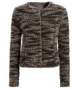 TUZZI Frühlings-Jacke leichte Damen Woll-Jacke Beige/Braun, Größe:44