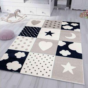 Kinderteppich Teppich Kinderzimmer Babyteppich mit Herz Stern Wolke D.BLAU, Maße:120x170 cm