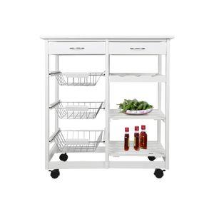 Küchenwagen Rollwagen Servierwagen  MDF mit 4 Rollen| Weiß 67x37x75cm