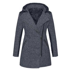 Frauen Warm Slim Jacke Dick Parka Mantel Winter Outwear Hooded Zipper Coat Größe:XXL,Farbe:Grau