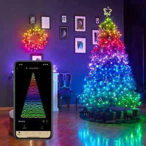 Twinkly Strings Lichterkette 400 LED warmweiss und Multicolor Outdoor 32m schwarz