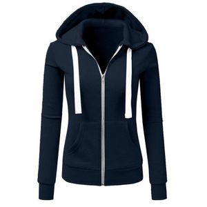 Damenmode Lässig Langarm Lose Kapuze Spleißen Outwear Plüschmantel Größe:M,Farbe:Blau