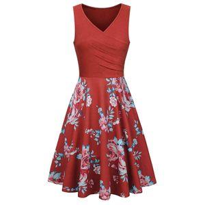 Damen Casual Fashion Print Ärmellose Weste V-Ausschnitt Knielanges Partykleid Größe:XXL,Farbe:Rot