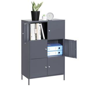 SONGMICS Metall Aktenschrank mit 6 Türen Büroschrank mit 3 Fachböden 105,2 x 65 x 36 cm Werkzeugschrank mit 15 kg pro Ebene belastbar grau OMC06GB