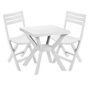 Sitzgarnitur Gartengarnitur 3-teilig Weiß
