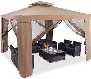 COSTWAY Gartenpavillon Partyzelt mit 4 Seitenwänden Reißverschluss und Moskitonetz 300x300x265cm Kaffee