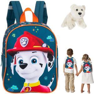 Rucksack Mädchen Jungen Kinder Kindergartenrucksack Fabrizio Paw Patrol Kinderrucksack Hund Kindertasche kids backpack 20633 Marshall Dunkelblau Dalmatiner + Eisbär Anhänger