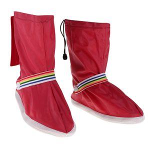 1 Para Wasserdichte Regen Schuhe Abdeckung Reise Fahrrad Motorradstiefel Rot 3XL wie beschrieben