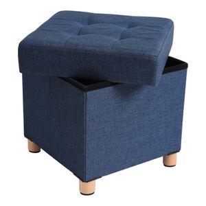 SONGMICS Sitzhocker, faltbare Sitztruhe, gepolstert, mit Deckel, Füße aus Massivholz, platzsparend, bis 300 kg belastbar, blau LSF14IN
