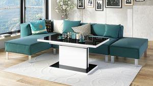 Design Couchtisch Tisch Aston Schwarz Hochglanz / Weiß matt stufenlos höhenverstellbar ausziehbar 120 bis 200cm Esstisch