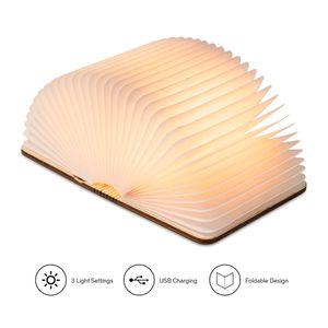 LED-Buchleuchte, klappbare Leseholzlampe oder Schreibtisch/Tischleuchte mit wiederaufladbarem Akku Klappbares Design mit Magneten, dekoratives warmes Licht