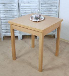 Esstisch, Küchentisch ausziehbar, Platte Melaminbeschichtung  bucheartig natur, ca. 67 x 67-124 cm