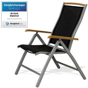 ib style® DIPLOMAT Hochlehner Klappstuhl mit TEAK Aluminiumgestell Gartenstuhl Multipositionssessel SILBER