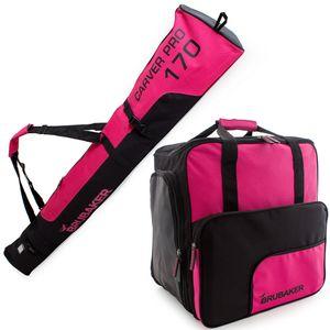 BRUBAKER Kombi Set Carver PRO -  Skisack 170 cm und Skischuhtasche für 1 Paar Ski + Stöcke + Schuhe + Helm Pink Schwarz