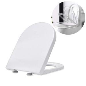 Toilettendeckel WC Sitz D Form Klodeckel mit Quick-Release-Funktion und Softclose Absenkautomatik Klodeckel abnehmbar Toilettensitz