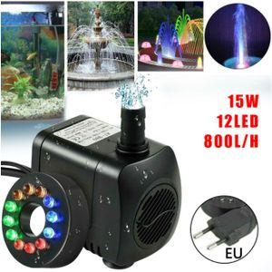 15W 800l/h Springbrunnenpumpe Teichpumpe Wasserspielpumpe Gartenpumpe Pumpe Springbrunnen mit 12 Bunt LED