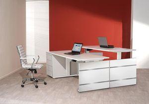 Form 4 Schreibtisch, elektrisch höhenverstellbar, Weiß, Größe Tischplatte:160 x 80 cm