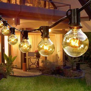 Lichterkette Außen Strom G40  Lichterkette, 30+3 Lichterkette Glühbirnen IP44 Wasserdicht, Lichterkette Außen für Garten, Bäume, Terrasse, Weihnachten, Hochzeiten, Partys [Energieklasse A+]