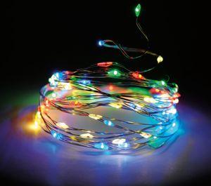 Lichterkette Draht 160 LED - bunt / multi - Innen + Außen - 8 Funktionen Timer