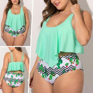 Sexydance Frauen Zweiteiler Tankinis Set Slips Pool Strandkleidung Gestreift Badeanzug,Farbe:Grün,Größe:3XL