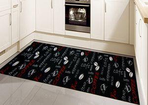 Teppich Küche Läufer Küchenteppich waschbar mit Schriftzug Coffee in schwarz Größe - 67x180 cm