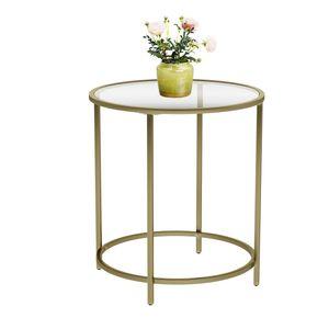 VASAGLE Beistelltisch mit goldenem Metallgestell | stabil robustes Hartglas | rund Glastisch kleiner Nachttisch Gold Sofatisch dekorativ LGT20G