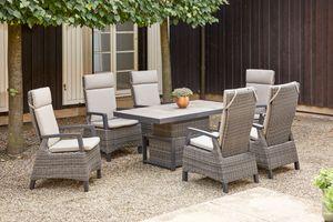SIENA GARDEN Corido Sitzgruppe, charcoal, Alu / Gardino®-Geflecht, 6 Diningsessel, stufenloser Lifttisch 160x90x47-71cm