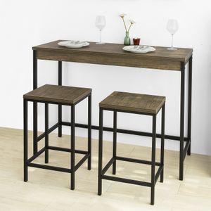 SoBuy OGT30-N 3-teilig Bartisch-Set Bistrotisch mit 2 Barhockern Küchentresen mit Barstühlen Essgruppe Küchentisch Bartheke Tresentisch im Industrie-Design