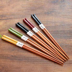 5 Paar wiederverwendbare Bambusgitter Anti-Rutsch-Essstäbchen Essstäbchen