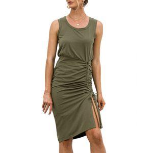 Frauen ?rmelloses Kleid mit Rš¹schen Kordelzug seitlich geschlitzt Sommer Tr?gerkleid