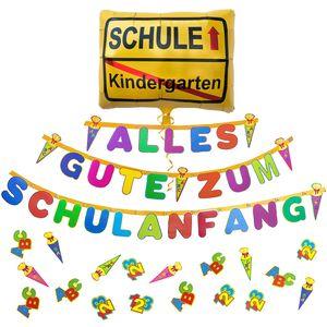 Oblique Unique Schuleinführung Schulanfang Einschulung Deko Set - Alles Gute zum Schulanfang Girlande + Ballon + Konfetti