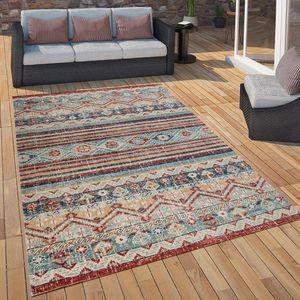Outdoor Teppich Küchenteppich Balkon Terrasse Vintage Ethno Muster Rot Blau Beige, Grösse:80x150 cm