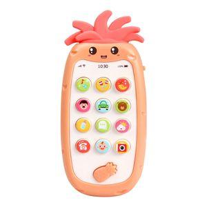 Handy-Spielzeug mit leichter Musik und Sounds Silikon-Bei?ring Baby Multifunktionales Smartphone-Spielzeug fuer Babys Kleinkinder Kleinkinder 6 Monate +【Orange】