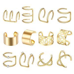 Edelstahl Ohr Manschette Helix Ohr Clip Auf Wrap Ohrringe Unisex Goldene Golden Modern wie beschrieben