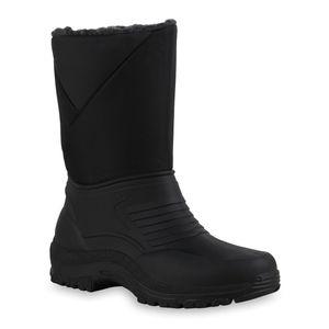 Mytrendshoe Herren Warm Gefütterte Winter Boots Stiefel Profil-Sohle Schuhe 836088, Farbe: Schwarz Grau, Größe: 45