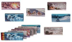 8 x 45er Packungen XL Streichholzschachteln, 96mm mit Weihnachten/Christmas/Winter Design Streichhölzer Zündhölzer