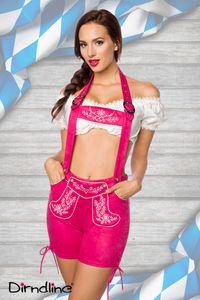 Traditionelle Trachtenshorts / Trachtenhose mit Stickereien in pink Größe L = 40
