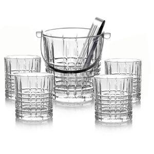 6-tlg Whisky Set Eiseimer mit Zange & Gläser Set Trinkgläser Whiskey Likör