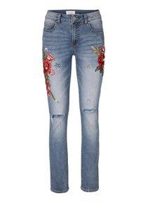 Linea Tesini Damen Designer-Jeans mit Stickerei, hellblau, Größe:38