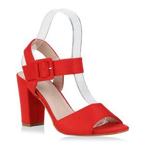 Mytrendshoe Damen Klassische Sandaletten Blockabsatz High Heels Absatzschuhe 830012, Farbe: Rot, Größe: 39