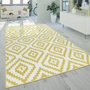 Kurzflor Wohnzimmer Teppich Pastell Geometrisches Ethno Muster Gelb Weiß, Grösse:160x220 cm