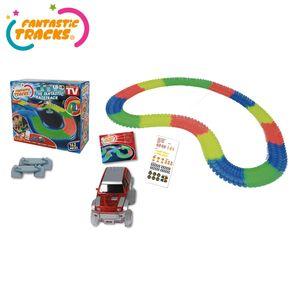 Fantastic Tracks® Autorennbahn oder Rennstrecke + Auto mit 3 LED-Lichtern, 162-Teile - Original aus TV-WERBUNG