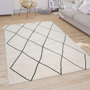 Teppich Wohnzimmer Skandi Rauten Muster Kurzflor Hell Und Modern In Weiß, Grösse:160x230 cm