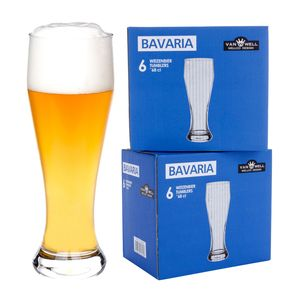 12er Set Bavaria Weizenbiergläser 0,5 Liter geeicht Weißbiergläser Weizengläser Biergläser Glas