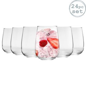 Argon Ta 24 Stück Corto Stemless Gin und Tonic-Gläser Set - Modern Style Glasballon Tumblers für G & T, Cocktails, Wein - 590ml
