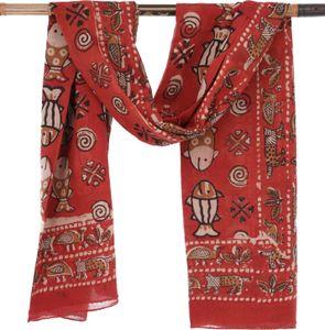 Leichter Pareo, Sarong, Handbedrucktes Baumwolltuch - rot Kombination 18, Unisex, Baumwolle, 190*120 cm, Bedruckte Tücher