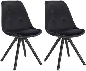 WOLTU Esszimmerstühle 2er-Set Küchenstuhl Sitzfläche aus Samt, Design Stuhl, Holzgestell,  Schwarz